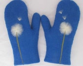 felted wool mittens in royal blue with dandelion design, 100 percent handmade, made to order