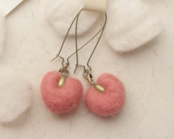 felted earrings---water melon red, candy heart