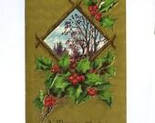 Vintage Christmas Postcard-A Merry Christmas