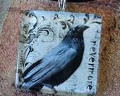 Raven Nevermore Glass Pendant