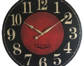 Large Wall Clock 30 inch Marseille - round dark black  red  regular numbers Antique style distressed rustic tuscan