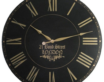 Large Wall Clock 24 inch London Town  Antique Gallery Black Big Roman Round Tuscan Gold