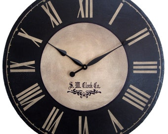 Large Wall Clock 24 Inch Port Royal Antique Style Rustice Black Tan Roman  Numerals