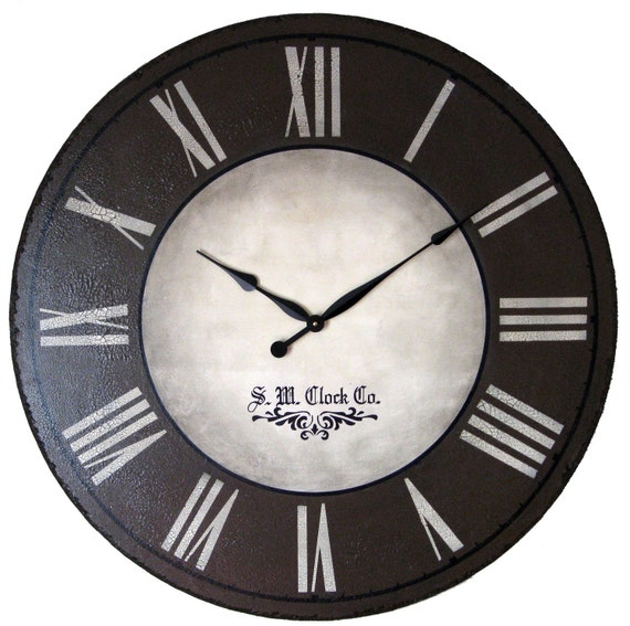 24 Inch Wellington Large Wall Clock Antique Style Big Brown