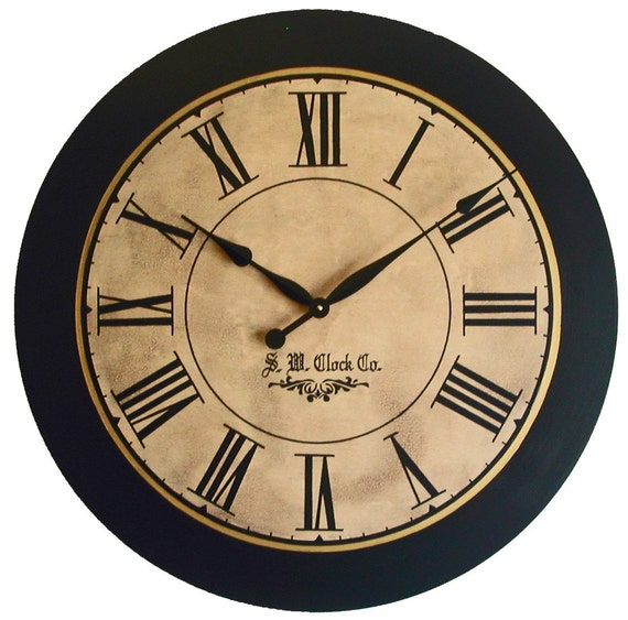 36 inch Lexington Large Wall Clock personalized - Antique style big Roman numerals round tan black