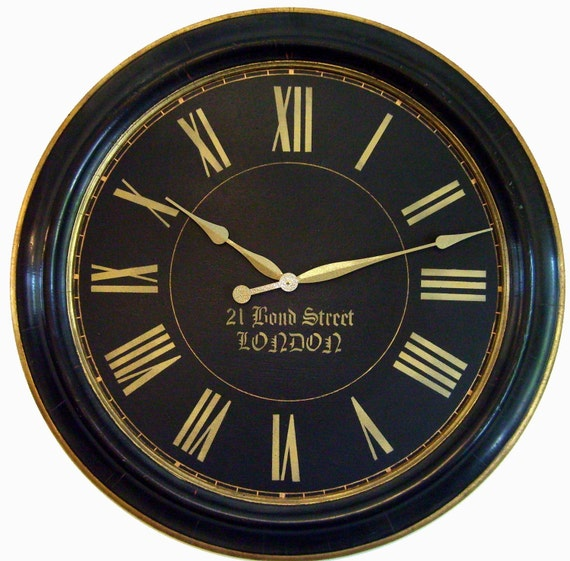 items similar to 30 inch framed large wall clock towne black gold big on etsy