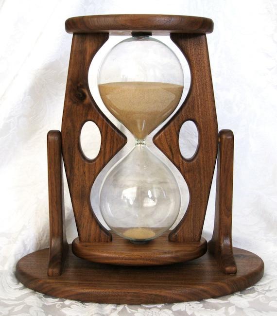 Hourglass Sandtimer Walnut Wood Large 60 Min By Klocktime