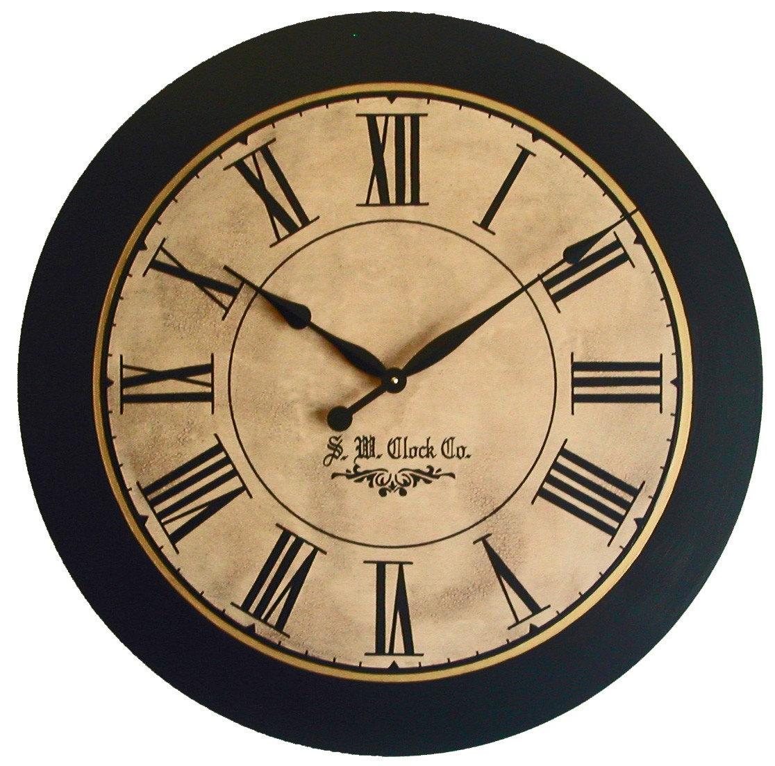 36 inch lexington large wall clock antique style big roman. Black Bedroom Furniture Sets. Home Design Ideas