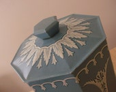 RESERVED for Tracey -- Murray-Allen Vintage Confections Tin - Made in England - Powder blue with Greek Maidens