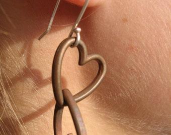 Copper Heart Earrings Valentine