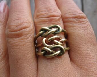 Infinity Knot Rings Tibetan Bronze Four Rings  888888888888888888888888888888888888