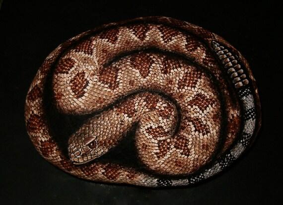 Hand Painted Rock Art - Rattlesnake