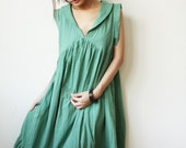 Peter pan collar Simply Light Teal Green  Cotton Dress