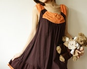Timeless Elegance with Tangerine and Dark Brown Dress