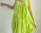 Pleat Front Mini dress in Light Green