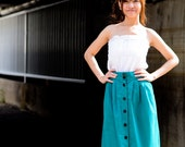 60's Style Full Skirt 3 Pleats Front in Teal Green