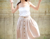 60's Style Full Skirt in Beige /  Natural Cotton