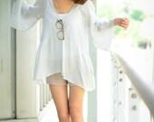 Soft blue Silk Cotton V neck Collar Kimono Sleeves Blouse (Size S - L)