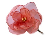 romantic salmon coral rose blossom flower bobby pin