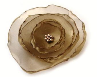 romantic brownie rose flower brooch