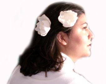 ON SALE cream white peony blossom wedding flower hair pins (2 pieces)
