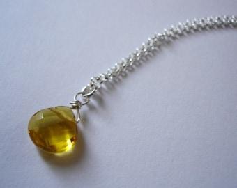 gold citrine quartz drop necklace in sterling silver