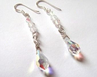 white swarovski crystal drop earrings for weddings in sterling silver