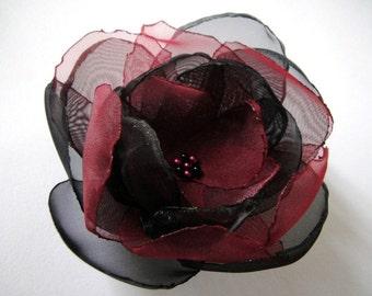 Burgundy black big rose blossom flower brooch