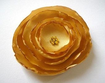 gold rose blossom wedding flower brooch