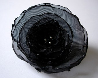 romantic black rose flower brooch