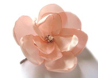 peach salmon rose blossom wedding flower bobby pin