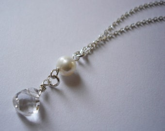 crystal white quartz teardrops in pearls necklace