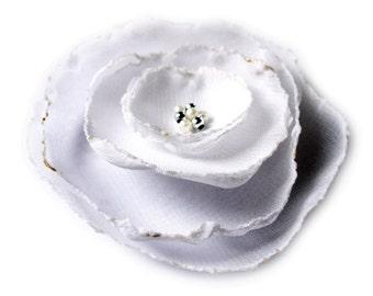 romantic snow white rose flower brooch