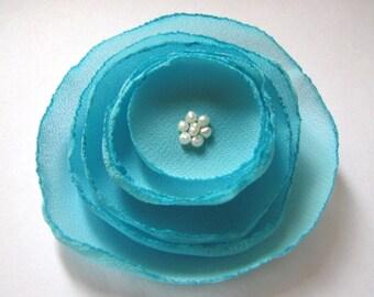 aqua blue poppy rose blossom wedding flower alligator clip