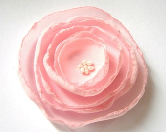 sweet pink poppy rose blossom wedding flower alligator clip