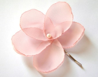 sugar pink rose  blossom wedding flower bobby pins (set of 2)