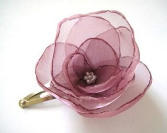 ON SALE lavender poppy flower snap clip