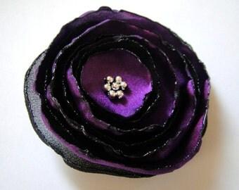 amethyst black  rose blossom flower alligator clip