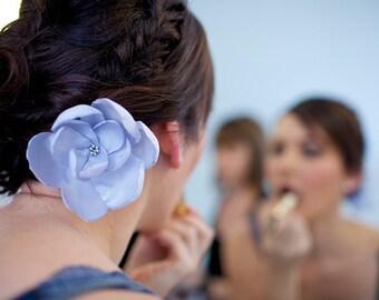 silver star rose blossom wedding flower bobby pin