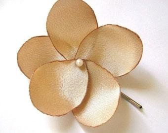 dore gold rose blossom wedding flower bobby pins (set of 2)