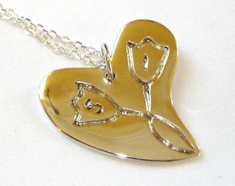 the magic love of tulips necklace - Personalized Sterling Silver 925 Tag Necklace