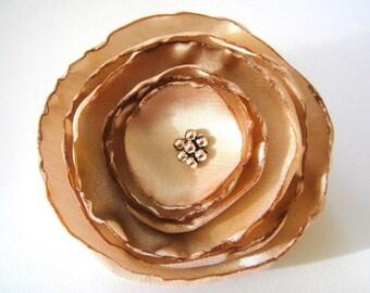 caramel dore rose flower brooch
