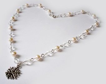 magical snowflake love ivory pearl necklace for weddings in sterling silver with white crystals and pearls