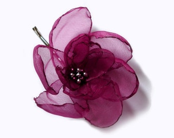 romantic cherry ruby rose blossom flower bobby pin