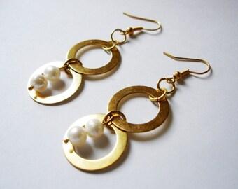 Gold Citrine Cell Hoops In Pearls Earrings