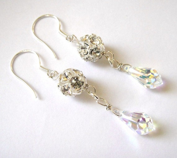 white cream swarovski crystal wedding earrings