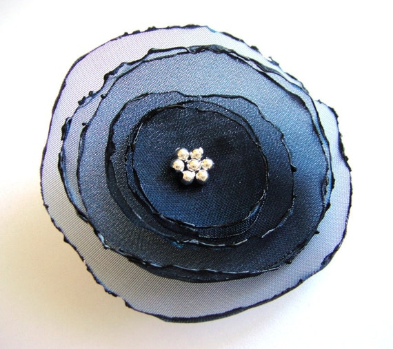 romantic midnight blue rose flower brooch