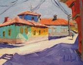 ORIGINAL OIL Painting,Architectural Art,Travel Art,Miniature Art,Landscape Art,'Village Color' by AndolsekArt
