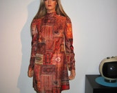 SALE.  Vintage 60's Dress with Coordinating jumper. Persian rug pattern fabric, Mod.  2 looks in 1.