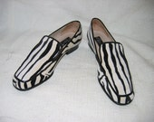 Fabulous Faux Zebra Loafers.  d'Ro-Too shoes Size 7.  Made in Italy.  Vintage velvet and leather.